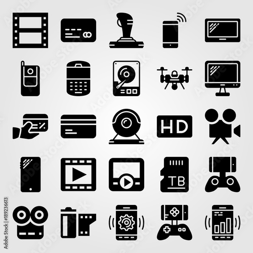 Technology icon set vector. phone, hhd, credit card and cellphone