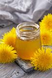 Dandelion honey in a jar