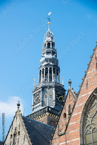 Deurstickers Amsterdam Facade of the Oude Kerk - Old Church in Amsterdam, the Netherlands.