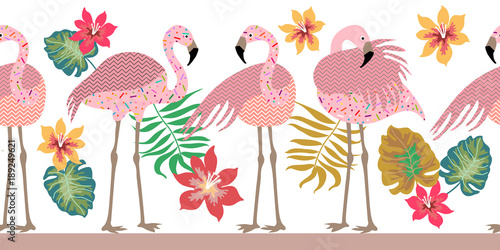 Seamless vector border pith flamingos, flowers and palm leaves. - 189249621