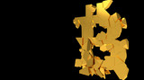Bitcoin Crash - 3D Render shatter of global cryptocurrency and bitcoin market price crash