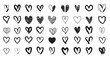 Black heart hand drawn. Icon cute doodle love. - 189258265