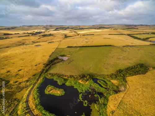 Papiers peints Miel Aerial landscape meadows and pastures in Australia
