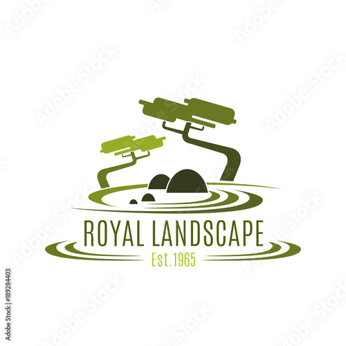 Tuinposter Wit Royal landscape design company vector icon