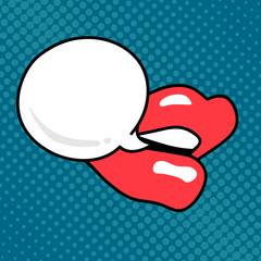 Lips, mouth, speech bubble. Pop art comic retro style. Message text Wow, sale concept. Design elemen for web site, banner, print poster, card. Polka dot background. Vector illustration.