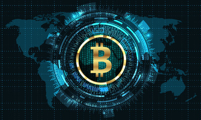 Bitcoin with HUD Elements. Bit Coin, BTC, Bit-coin, Digital Currency. Cryptocurrency