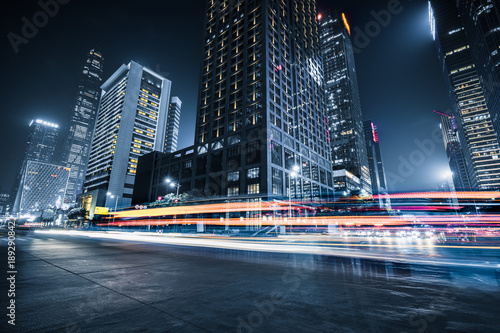 the light trails on the modern building background.