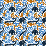 Vector semaless pattern with crocodiles and elephants. Tribal african fabric design. - 189292091