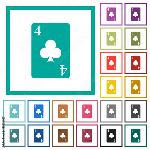 four of clubs card flat color icons with quadrant frames