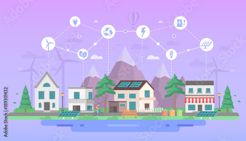 In de dag Purper Eco-friendly city district - modern flat design style vector illustration