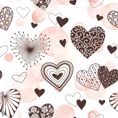 Tapeta Cute vector hearts seamless background. Valentines day hearts ornament with pink watercolor spots on background. Romantic tiled pattern for wrapping paper and wallpaper design.