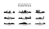 set of Big City European Skyline Silhouette vector template - 189306421