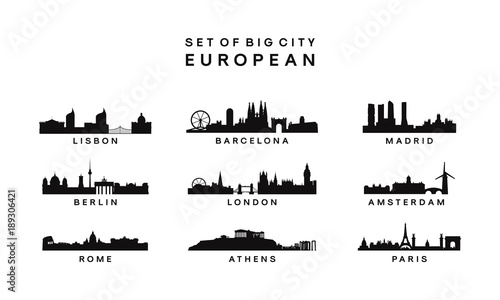 set of Big City European Skyline Silhouette vector template