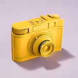 Yellow camera on pastel background. - 189309470