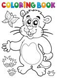 Coloring book groundhog theme image 1 - 189312677