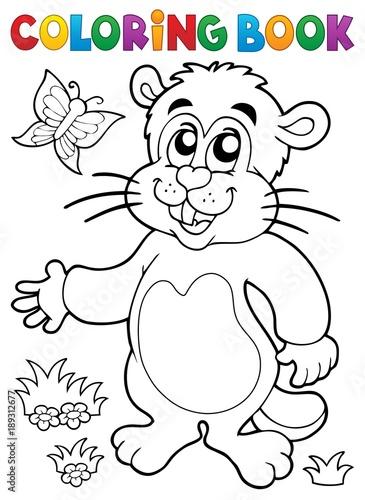 Fotobehang Voor kinderen Coloring book groundhog theme image 1