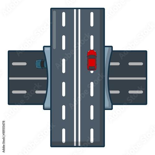 Bridge over road icon, cartoon style.