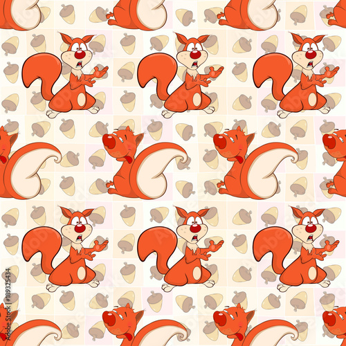 Deurstickers Babykamer Background with Cute Squirrels. Seamless Pattern