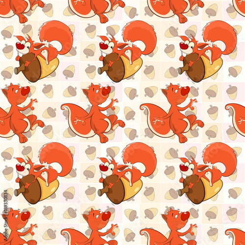 Fotobehang Babykamer Background with Cute Squirrels. Seamless Pattern