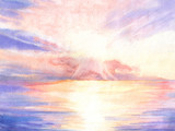 Hand drawn watercolor illustration with seascape. Beautiful sunrise over the water.