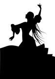 Silhouette of typical Spanish flamenco dancer woman with long mane.