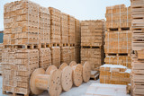 Wood timber production at woodworking plant. Lumber warehouse territory. - 189346645