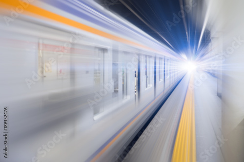 Fototapeta blur hi speed subway underground train fast business transport concept