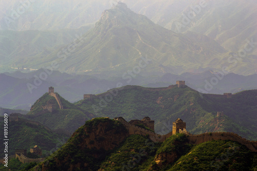 Fotobehang Chocoladebruin The Great Wall of China weaving through the mountains at Jinshanling, an area known as the Wild Wall