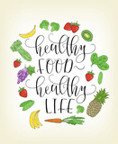 Vector lettering with hand drawn fruits and vegetables.