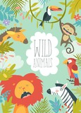 Happy jungle animals creating a framed background - 189361425
