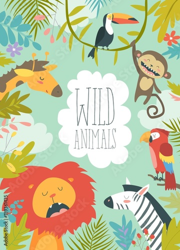 Fototapeta Happy jungle animals creating a framed background