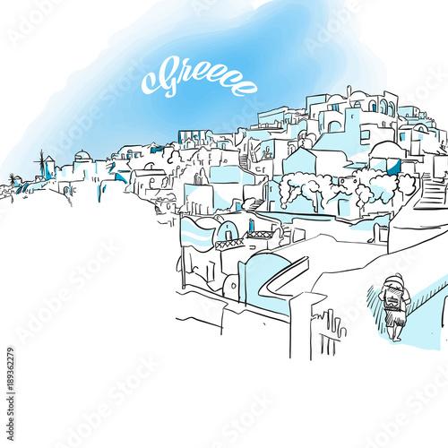 Sketch of Oia, Greece