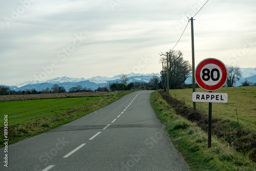 Fototapeta limit speed at 80 km/h on the french roads