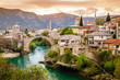 Leinwandbild Motiv City of Mostar and Neretva River