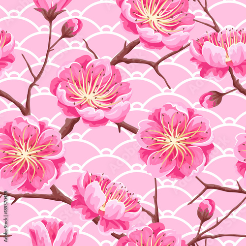Cotton fabric Seamless pattern with sakura or cherry blossom. Floral japanese ornament of blooming flowers
