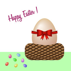 Happy Easter with in an egg basket. Vector illustration. Free Royalty Images.