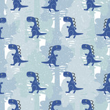 Dino blue color boy seamless vector pattern camo. Kids animal apparel and wallpaper print.