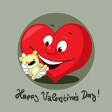 valentines heart with teddy bear flat design vectot character illustration