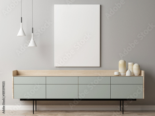 Mock up poster on gray wall background, composition retro chest of drawers, 3d render, 3d illustration