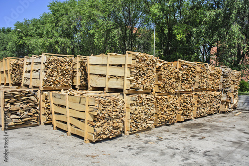 Foto op Canvas Brandhout textuur Firewood