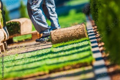 Deurstickers Gras Grass Turfs Installation Work