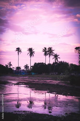 Foto op Canvas Aubergine Sunset beach