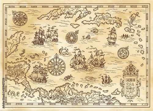 Ancient pirate map of the Caribbean Sea with ships, islands and fantasy creatures. Pirate adventures, treasure hunt and old transportation concept. Hand drawn vector illustration, vintage background