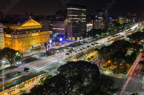 Fotobehang Buenos Aires Noche en el corazón de Buenos Aires