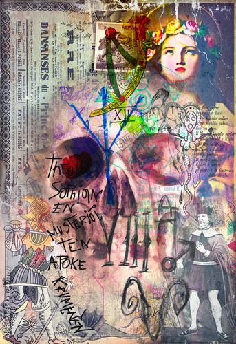 Foto op Canvas Imagination Murales,collage e graffiti con teschio e simboli astrologici,alchemici ed esoterici