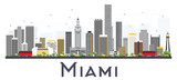 Fototapety Miami USA City Skyline with Gray Buildings Isolated on White Background.