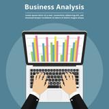 Businessman with laptop analyzes data. Analysis concept, flat design. - 189434286