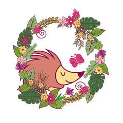 Animals on spring cartoon icon vector illustration graphic design