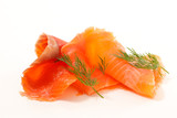 smoked salmon slices and dill - 189436810