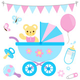 Baby girl and baby boy stroller and accessories. Vector illustration